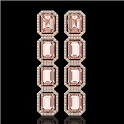 19.81 CTW Morganite & Diamond Halo Earrings 10K Rose Gold - REF-424F8N - 41583