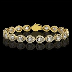 12.38 CTW Pear Diamond Designer Bracelet 18K Yellow Gold - REF-2270K4W - 42646