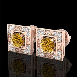 1.63 CTW Intense Fancy Yellow Diamond Art Deco Stud Earrings 18K Rose Gold - REF-176T4M - 38163