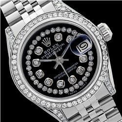 Rolex Men's Stainless Steel, QuickSet, Diamond Dial & Diamond Bezel - REF-587T4K