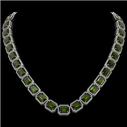 80.65 CTW Tourmaline & Diamond Halo Necklace 10K White Gold - REF-1047X6T - 41495