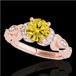 1.2 CTW Certified Si Intense Yellow Diamond Solitaire Antique Ring 10K Rose Gold - REF-200A2X - 3468