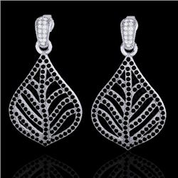 2.50 CTW Micro Pave Black & White VS/SI Diamond Earrings Designer 18K White Gold - REF-235K8W - 2114