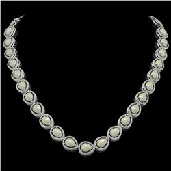 36.48 CTW Opal & Diamond Halo Necklace 10K White Gold - REF-685W6F - 41201