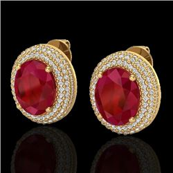 9.20 CTW Ruby & Micro Pave VS/SI Diamond Earrings 18K Yellow Gold - REF-190T2M - 20233