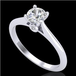 0.56 CTW VS/SI Diamond Solitaire Art Deco Ring 18K White Gold - REF-106F8N - 37280