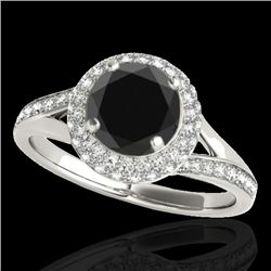 1.85 CTW Certified VS Black Diamond Solitaire Halo Ring 10K White Gold - REF-81W6F - 34126