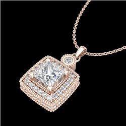 0.91 CTW Princess VS/SI Diamond Art Deco Stud Necklace 18K Rose Gold - REF-145W5F - 37131