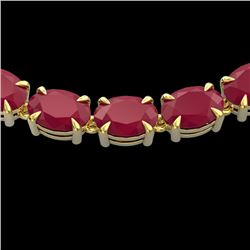 68 CTW Ruby Eternity Designer Inspired Tennis Necklace 14K Yellow Gold - REF-234H9A - 23408