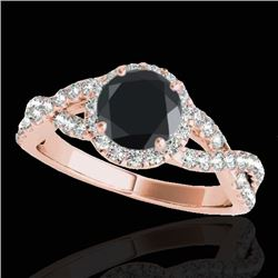 1.54 CTW Certified VS Black Diamond Solitaire Halo Ring 10K Rose Gold - REF-72H2A - 33791