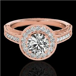 1.5 CTW H-SI/I Certified Diamond Solitaire Halo Ring 10K Rose Gold - REF-200T2M - 33743