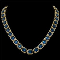 79.66 CTW London Topaz & Diamond Halo Necklace 10K Yellow Gold - REF-740K2W - 41512