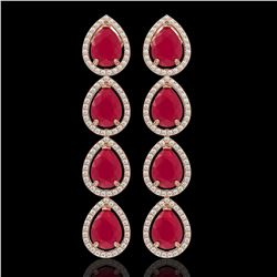 16.01 CTW Ruby & Diamond Halo Earrings 10K Rose Gold - REF-199H6A - 41286