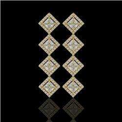 5.31 CTW Princess Cut Diamond Designer Earrings 18K Yellow Gold - REF-978W4F - 42802