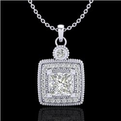 0.91 CTW Princess VS/SI Diamond Art Deco Stud Necklace 18K White Gold - REF-145W5F - 37130