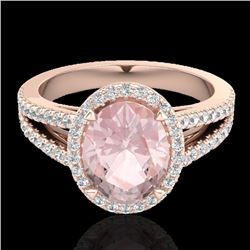 3 CTW Morganite & Micro VS/SI Diamond Halo Solitaire Ring 14K Rose Gold - REF-76Y4K - 20943