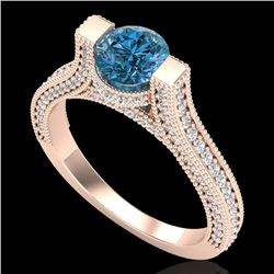 2 CTW Intense Blue Diamond Engagement Micro Pave Ring 18K Rose Gold - REF-200K2W - 37622