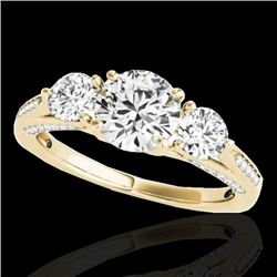 1.75 CTW H-SI/I Certified Diamond 3 Stone Ring 10K Yellow Gold - REF-236K4W - 35351
