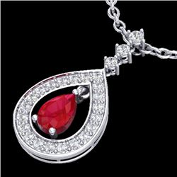 1.15 CTW Ruby & Micro Pave VS/SI Diamond Necklace Designer 14K White Gold - REF-60F9N - 23168