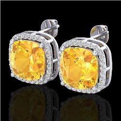 12 CTW Citrine & Micro Pave Halo VS/SI Diamond Earrings Solitaire 18K White Gold - REF-83M8H - 23058
