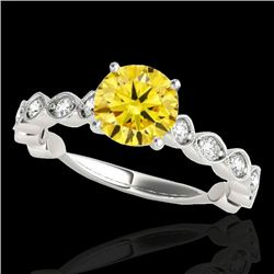 1.5 CTW Certified Si/I Fancy Intense Yellow Diamond Solitaire Ring 10K White Gold - REF-163T6M - 348