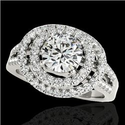 1.75 CTW H-SI/I Certified Diamond Solitaire Halo Ring 10K White Gold - REF-200A2X - 34283