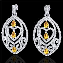 7 CTW Yellow Sapphire & Micro Pave VS/SI Diamond Heart Earrings 18K White Gold - REF-381W8F - 21166