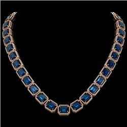 79.66 CTW London Topaz & Diamond Halo Necklace 10K Rose Gold - REF-740Y2K - 41511