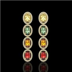 6.09 CTW Multi Color Sapphire & Diamond Halo Earrings 10K Yellow Gold - REF-135X3T - 40552