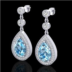 7.50 CTW Sky Topaz & Micro Pave VS/SI Diamond Earrings Designer 18K White Gold - REF-68T9M - 23124