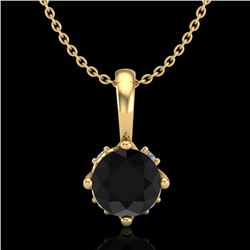 0.62 CTW Fancy Black Diamond Solitaire Art Deco Stud Necklace 18K Yellow Gold - REF-56H4A - 37795