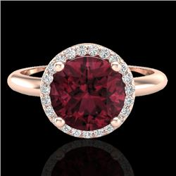 2.70 CTW Garnet & Micro Pave VS/SI Diamond Ring Designer Halo 14K Rose Gold - REF-45K6W - 23212