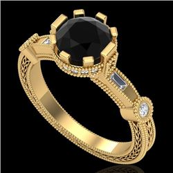 1.71 CTW Fancy Black Diamond Solitaire Engagement Art Deco Ring 18K Yellow Gold - REF-123F6N - 37858