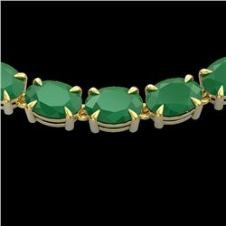 68 CTW Emerald Eternity Designer Inspired Tennis Necklace 14K Yellow Gold - REF-234T9M - 23402