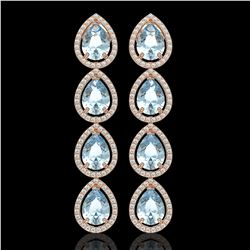 10.56 CTW Aquamarine & Diamond Halo Earrings 10K Rose Gold - REF-228T8M - 41307