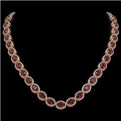 50.08 CTW Garnet & Diamond Halo Necklace 10K Rose Gold - REF-555F6N - 40599