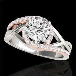 1.3 CTW H-SI/I Certified Diamond Bypass Solitaire Ring 10K White & Rose Gold - REF-165X8T - 35081