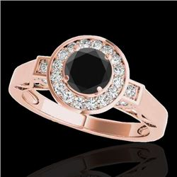 1.5 CTW Certified VS Black Diamond Solitaire Halo Ring 10K Rose Gold - REF-75H3A - 34571