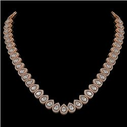 34.83 CTW Pear Diamond Designer Necklace 18K Rose Gold - REF-6349A3X - 42768