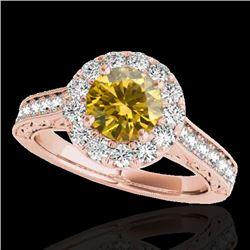 1.7 CTW Certified Si/I Fancy Intense Yellow Diamond Solitaire Halo Ring 10K Rose Gold - REF-178A2X -