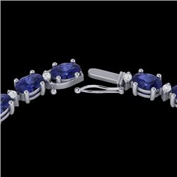 34 CTW Tanzanite & VS/SI Diamond Eternity Tennis Necklace 10K White Gold - REF-281Y8K - 21606