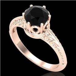 1 CTW Fancy Black Diamond Solitaire Engagement Art Deco Ring 18K Rose Gold - REF-52F8N - 38116
