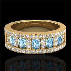 2 CTW Topaz & Micro Pave VS/SI Diamond Designer Inspired Band Ring 10K Yellow Gold - REF-60X4T - 208