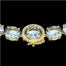 136 CTW Aquamarine & VS/SI Diamond Halo Micro Eternity Necklace 14K Yellow Gold - REF-1363N6Y - 2229