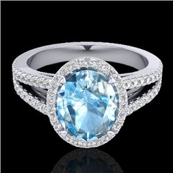 3 Sky Blue Topaz & Micro VS/SI Diamond Halo Solitaire Ring 18K White Gold - REF-69A3X - 20933