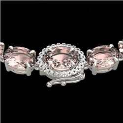 64 CTW Morganite & VS/SI Diamond Tennis Micro Halo Necklace 14K White Gold - REF-637K3W - 23468