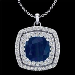 2.52 CTW Sapphire & Micro Pave VS/SI Diamond Halo Necklace 18K White Gold - REF-76F4N - 20463