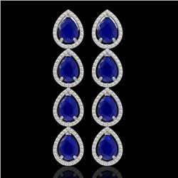 16.01 CTW Sapphire & Diamond Halo Earrings 10K White Gold - REF-186Y5K - 41288