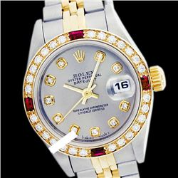 Rolex Ladies Two Tone 14K Gold/ss, Diam Dial & Diam/Ruby Bezel, Sapphire Crystal - REF-434F3M