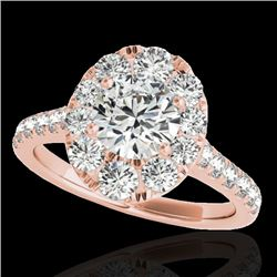 2 CTW H-SI/I Certified Diamond Solitaire Halo Ring 10K Rose Gold - REF-210K9W - 34079